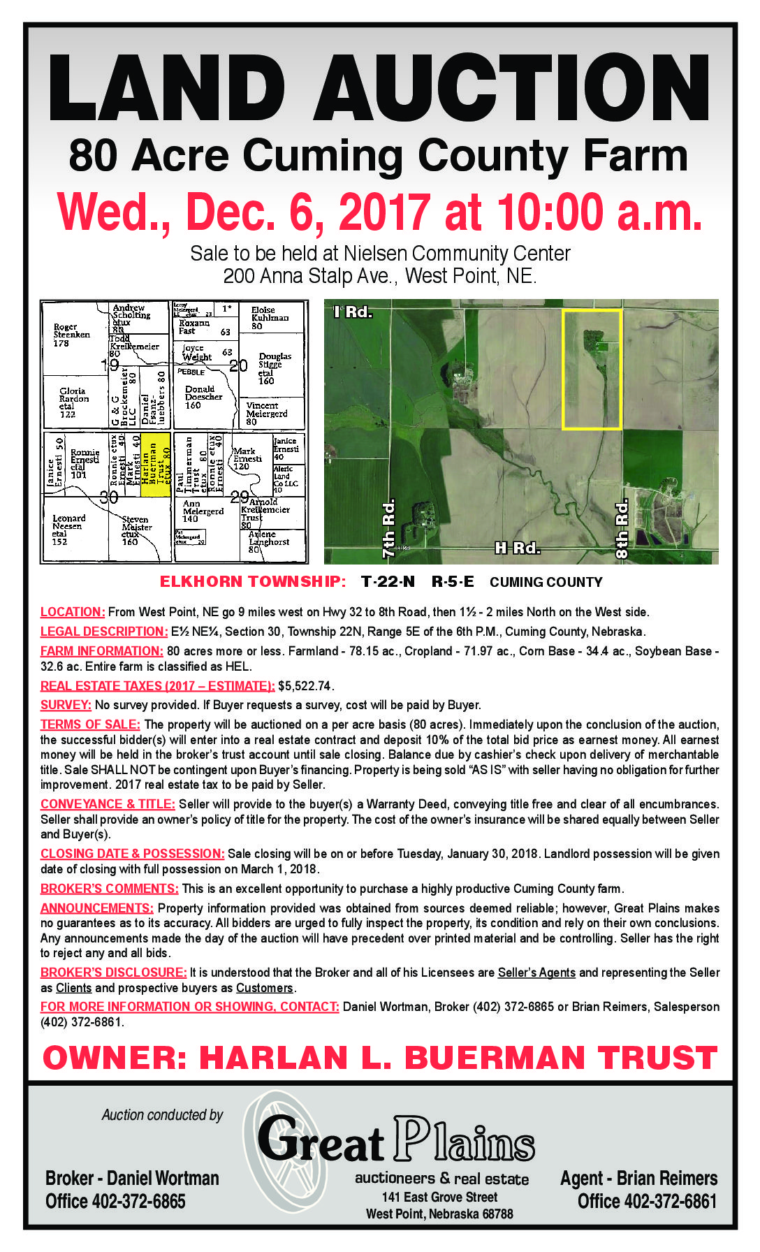 AUCTION – 80 acres of Cuming County Farmland for Sale